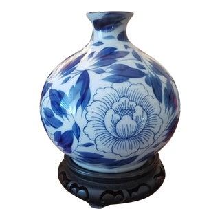 Chinese Blue & White Vase on Wooden Base
