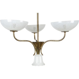 Seguso Filigreed Three-Arm Chandelier