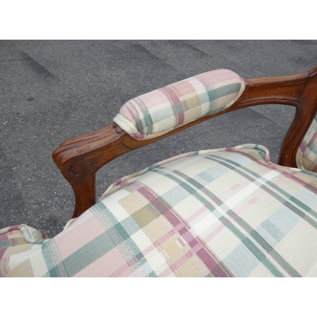 Vintage French Country Carved Wood & Plaid Arm Chair - Image 9 of 11