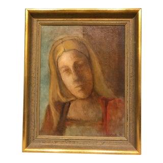 Mid-Century Lady Portrait Oil Painting