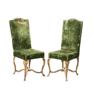 Green Louis XV Giltwood Chairs - A Pair