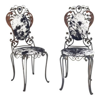 Vintage Speckled Brazilian Cowhide & Iron Garden Chairs- A Pair