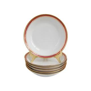 Limoges China Red & Gold Rimmed Bowls - Set of 6