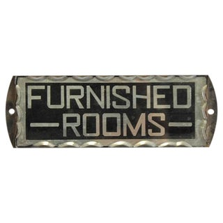 """1930s Reverse Glass Painted Sign """"Furnished Rooms"""""""