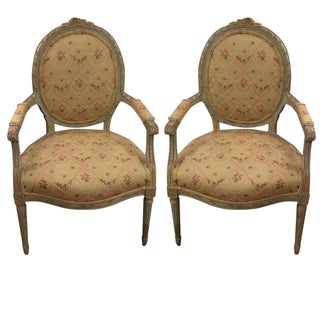 French Louis XVI Style Armchairs - A Pair