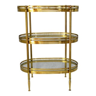 French Brass Three-Tier Side Table