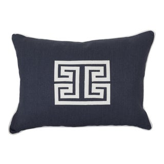 Navy Blue & White Geometric Pillow