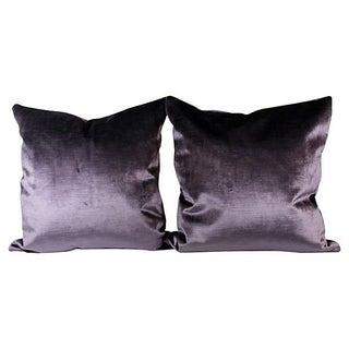 Royal Purple Italian Silk Velvet Pillow Covers - Pair