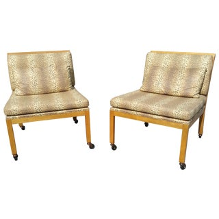 Set of Baker Leopard Fabric Chairs - Pair