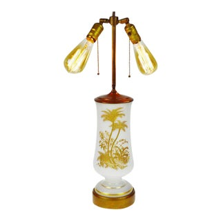 Vintage Gold Palm Tree Motif Glass Table Lamp