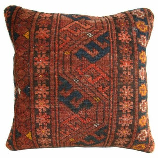 Rust and Navy Vintage Turkish Carpet Pillow