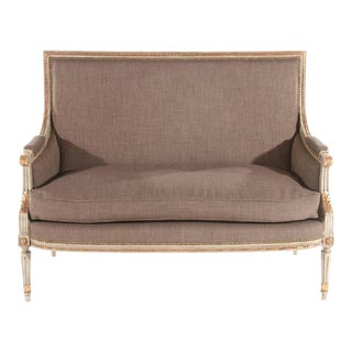 Early 20th Century French Louis XVI Style Settee in Grey Linen