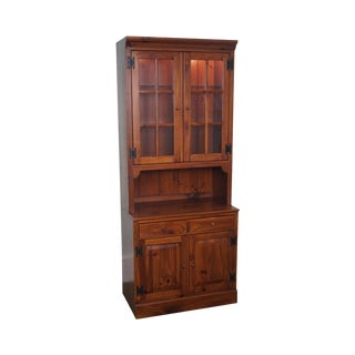 Ethan Allen Pine 2 Piece China Cabinet