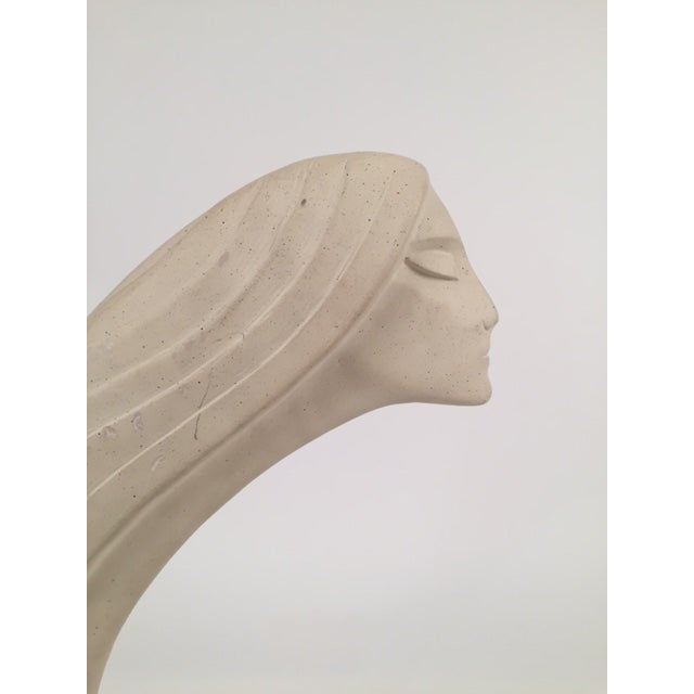 Image of Signed Stone Woman Neck & Face Sculpture