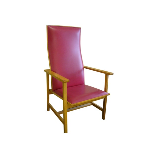 Mid-Century High Back Maple Armchair - Image 1 of 8