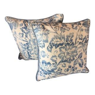 Blue & White Cotton Floral Pillows - A Pair