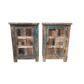 Rustic Indian Cabinets - A Pair