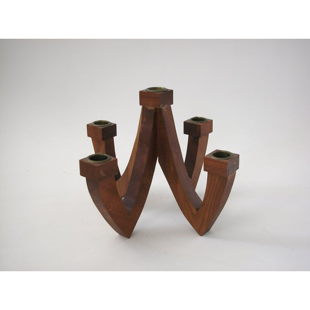 Mid-Century Wood Candle Holder - Image 2 of 9