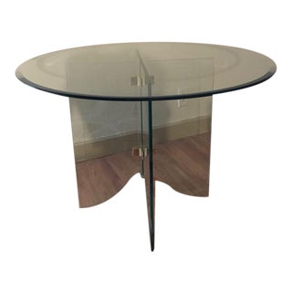 Pace Pedestal Glass Dining Table, Circa 1970