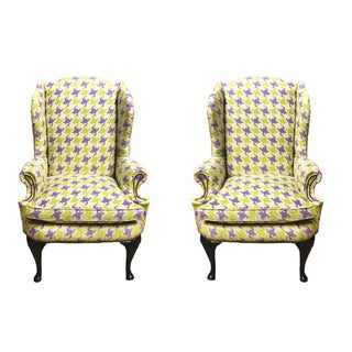 Lavender & Green Houndstooth Wing Chair