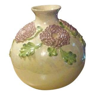 Purple Flowers Motif Pearlescent Vase