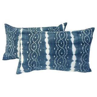 African Indigo Tie Dye Pillows - A Pair