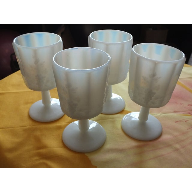 White Opalescent Glass Paneled Grape Goblets - S/4 - Image 4 of 9