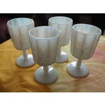 Image of White Opalescent Glass Paneled Grape Goblets - S/4