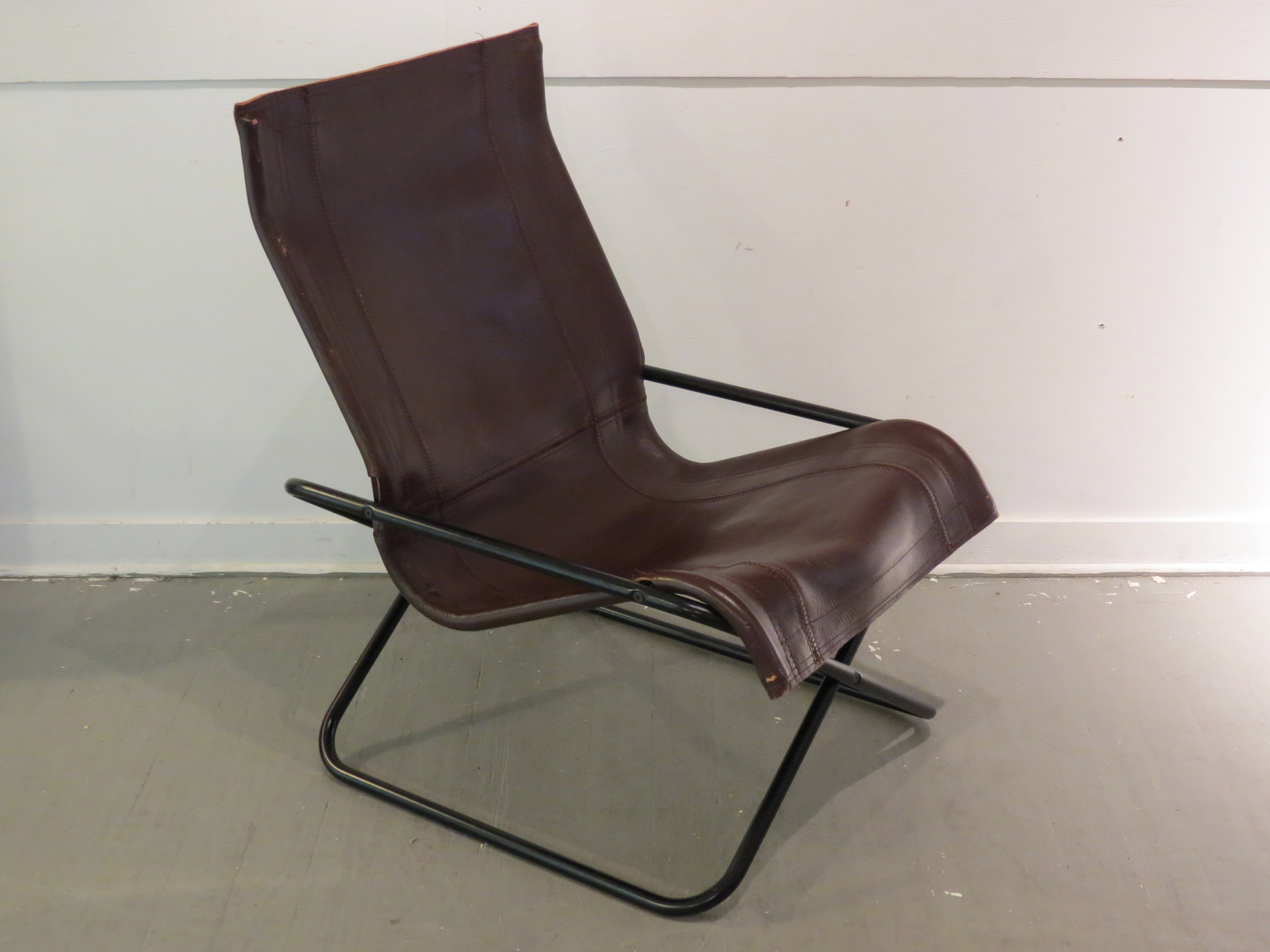 vintage mcm uchida leather sling chair image 2 of 11
