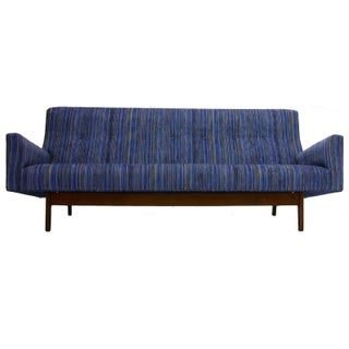 Jens Risom High Back Sculptural Sofa in New Jack Lenor Larsen Style Upholstery