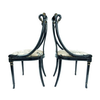 Hollywood Regency Black & Gold Swan Chairs - A Pair