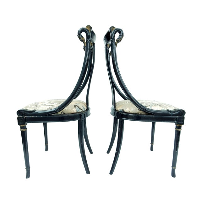 Hollywood Regency Black & Gold Swan Chairs - A Pair - Image 1 of 10