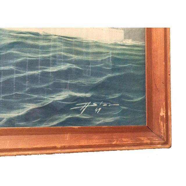 Vintage Print of Atlantic Cruiseliner - Image 7 of 7