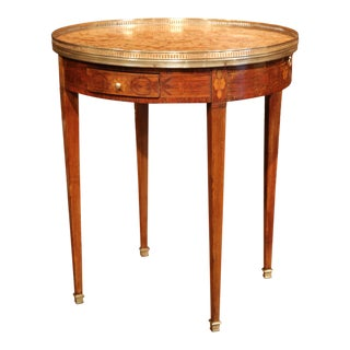 19th Century French Walnut Louis XVI Round Bouillotte Table with Marble Top