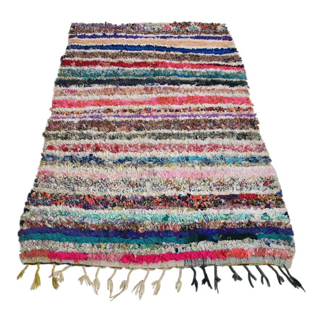 """Traditional Moroccan Boucherouitte Rug - 3'6"""" x 5'6"""" - Image 1 of 4"""