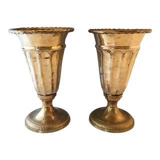 Large Brass Footed Vases - A Pair