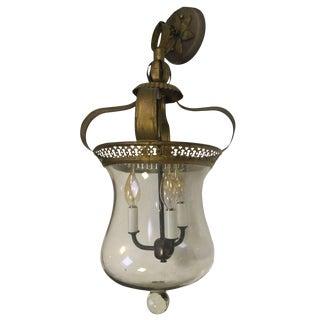 Antique Smoke Bell Hanging Brass & Glass Lantern