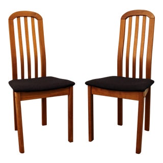 Mid-Century Danish Modern Teak Spindle-Back Side/Dining Chairs - a Pair