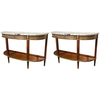 Jansen Demilune Console Tables - Pair