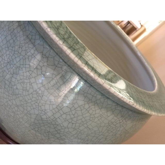 Celadon Crackle Glaze Fish Bowl Planters - Pair - Image 5 of 7