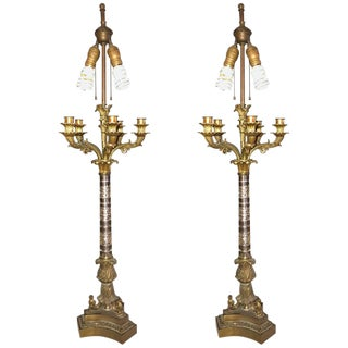 Empire Style Glass Column Candelabra Lamps - A Pair