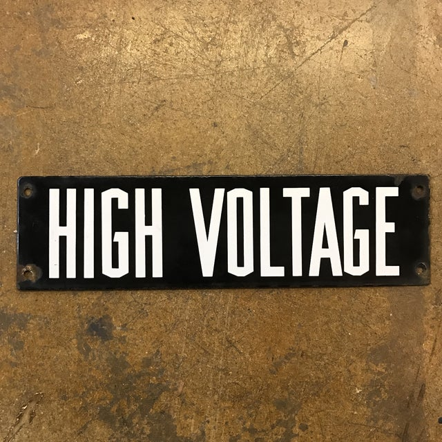 Image of Vintage Industrial Enamel High Voltage Sign