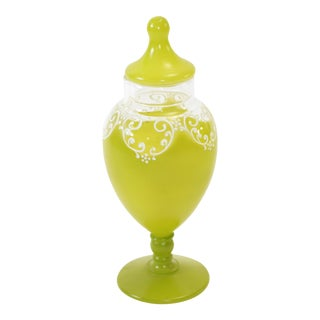 Vintage Enamel & Apple Green Glass Covered Boudoir Jar