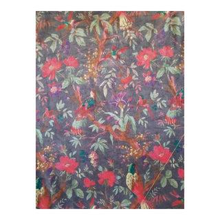 Grey Chinoiseri Velvet Fabric, 3yds