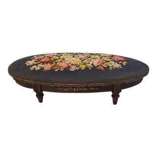 19th-Century Antique French Needlepoint Footstool
