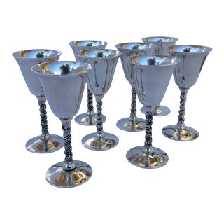 "Vintage Silver Plate Spanish ""Valerio"" Drinks Cordials - Set of 8"