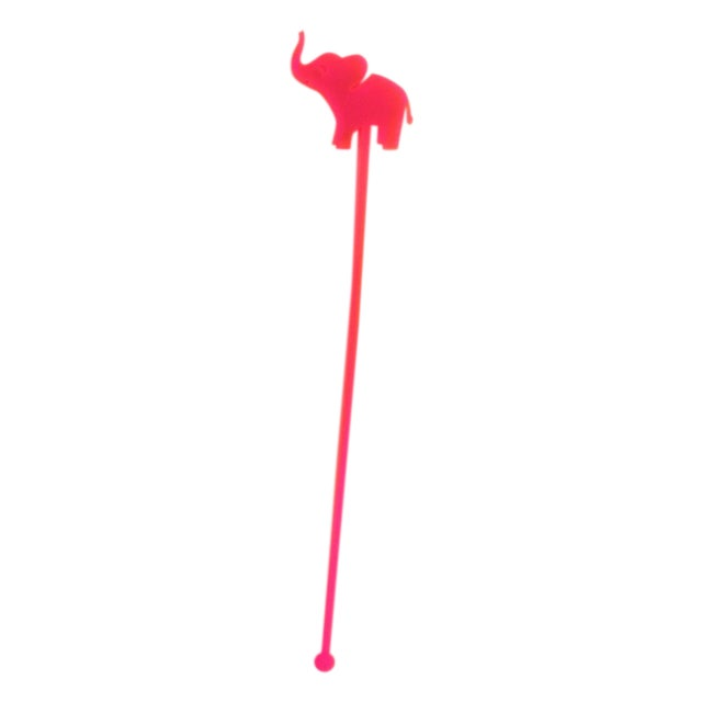 Hot Pink Elephant Drink Stirrers - Set of 6 - Image 1 of 6