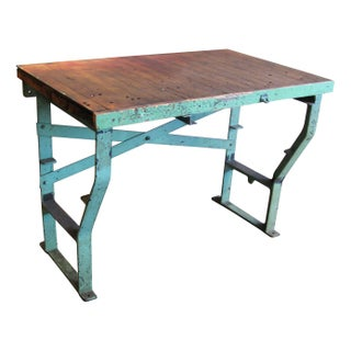 40s Factory Work Table Cast Iron Legs & Maple Top