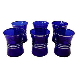 Cobalt Blue Shot/Juice Glasses W Silver Trim - S/6