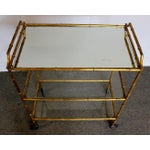 Image of Mid-Century Faux Bamboo 3-Tier Bar Cart